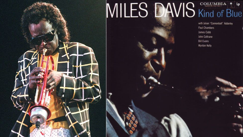 Miles Davis in 1991 and the cover of Kind of Blue
