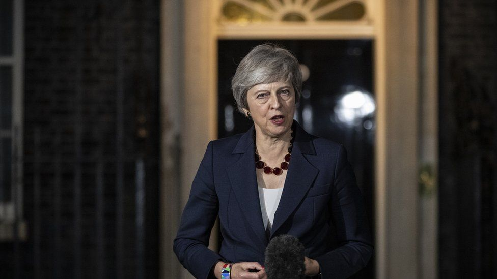 Theresa May speaking outside Number 10 Downing Street