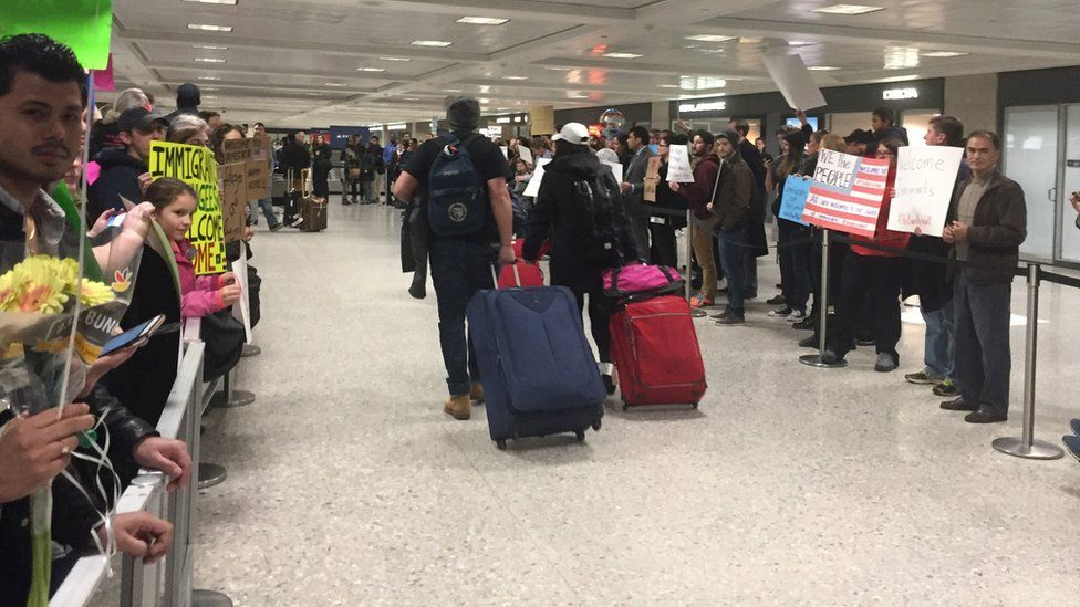 Relatives and supporters waited to greet arrivals who had been detained at Dulles International Airport in Virginia