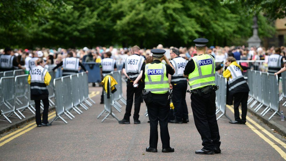 Police at a music festival in Glasgow
