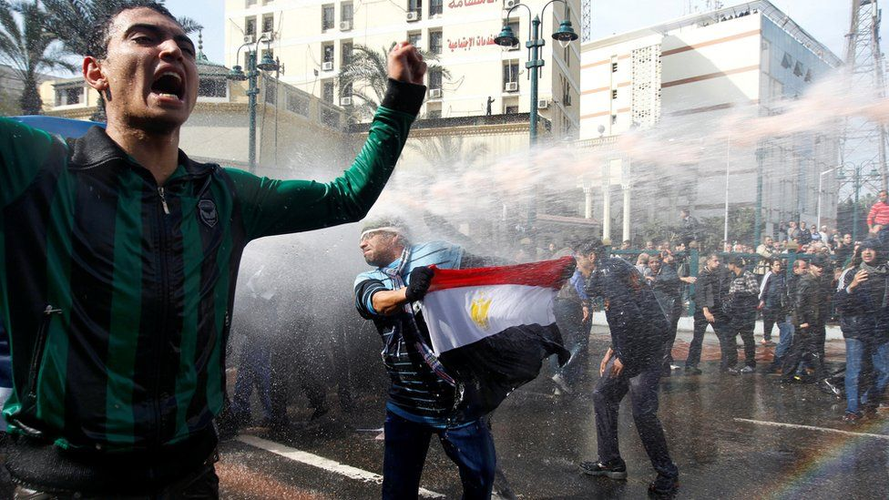 Egyptian protesters in Cairo, 2011