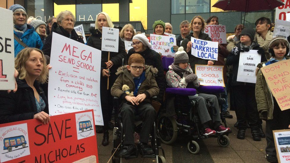 Parents and campaigners outside cabinet meeting