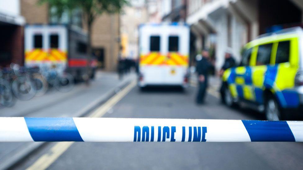 Police tape at a crime scene (stock image)