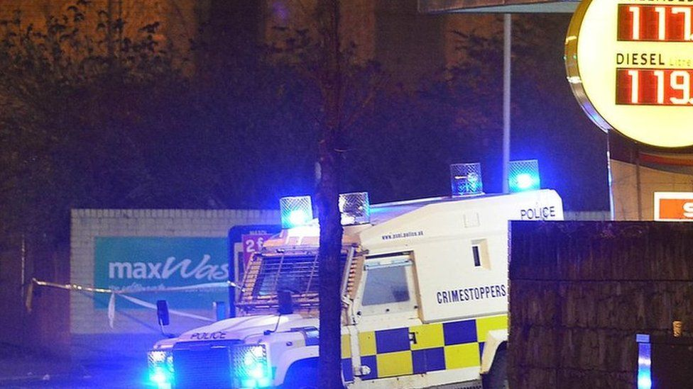 The Crumlin Road is closed as police investigate the shooting