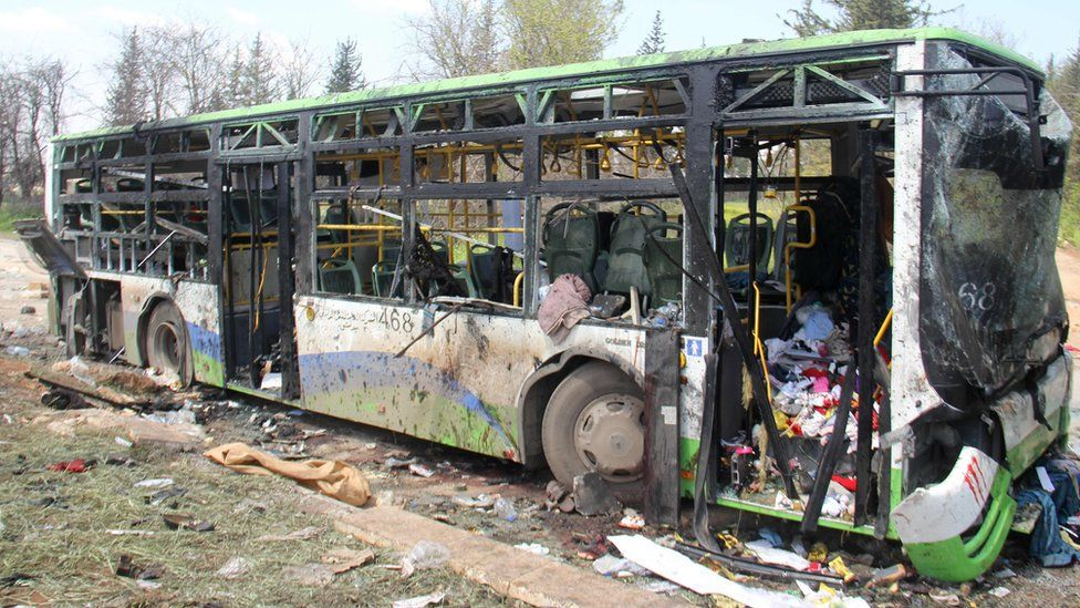 A picture taken on April 16, 2017, shows the damage a day after a suicide car bombing attack in Rashidin, west of Aleppo, targeted busses carrying Syrians evacuated from two besieged government-held towns of Foah and Kafraya