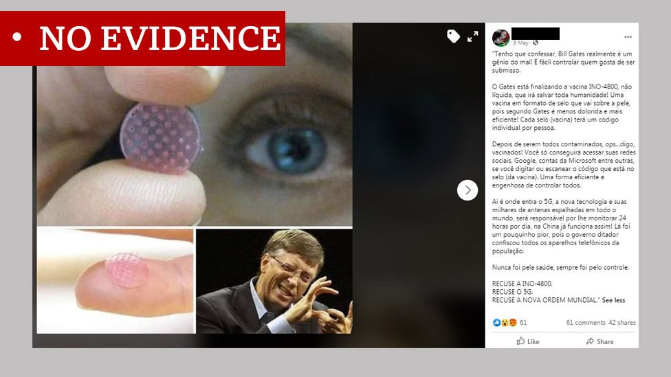 """Post in Portuguese about a conspiracy involving Bill Gates and microchips. Labelled """"no evidence"""""""