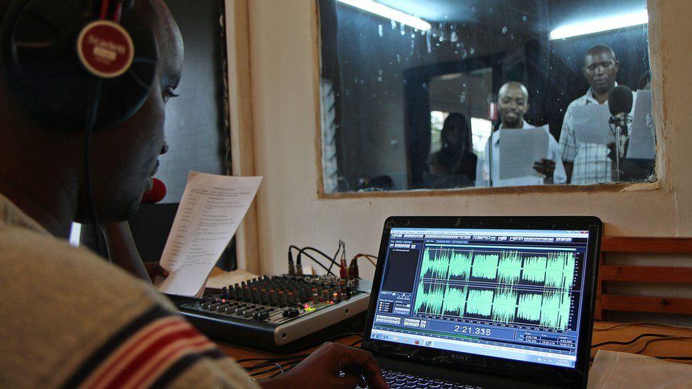 Radio studio during recording of soap opera