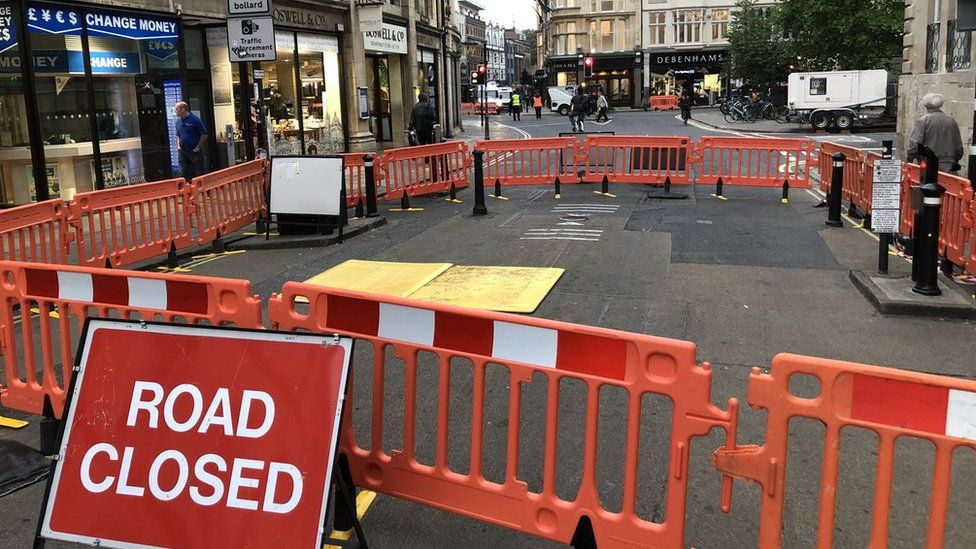 The cordoned off sink hole