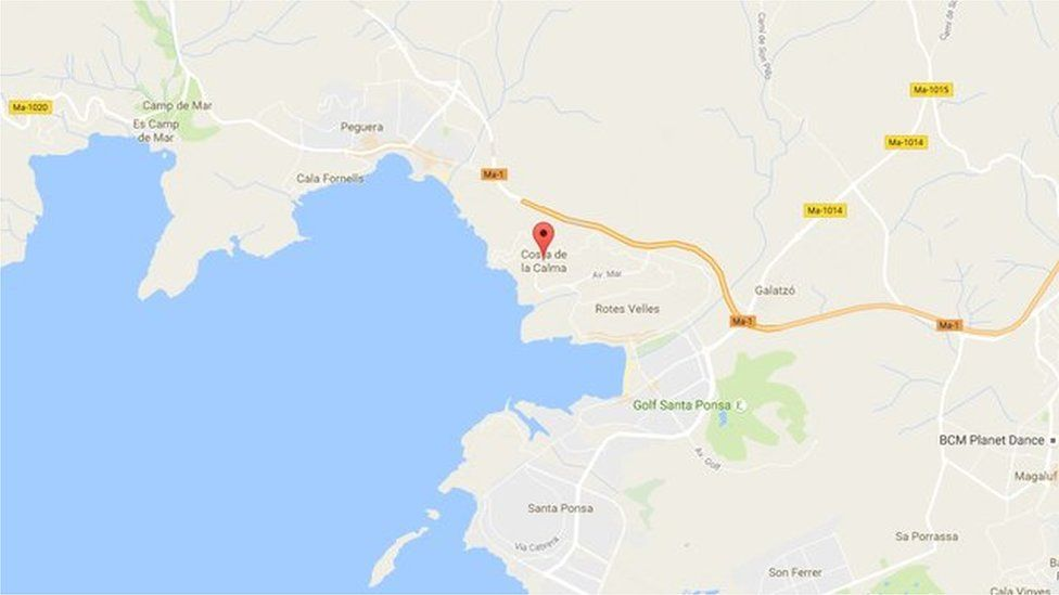 A map showing Costa de la Calma on the island of Majorca
