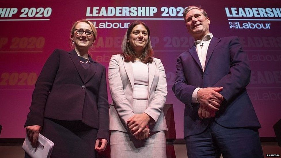 Rebecca Long-Bailey, Lisa Nandy and Sir Keir Starmer