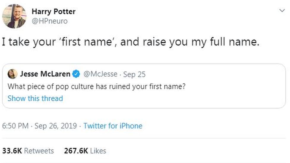 Screenshot of Harry's Tweet