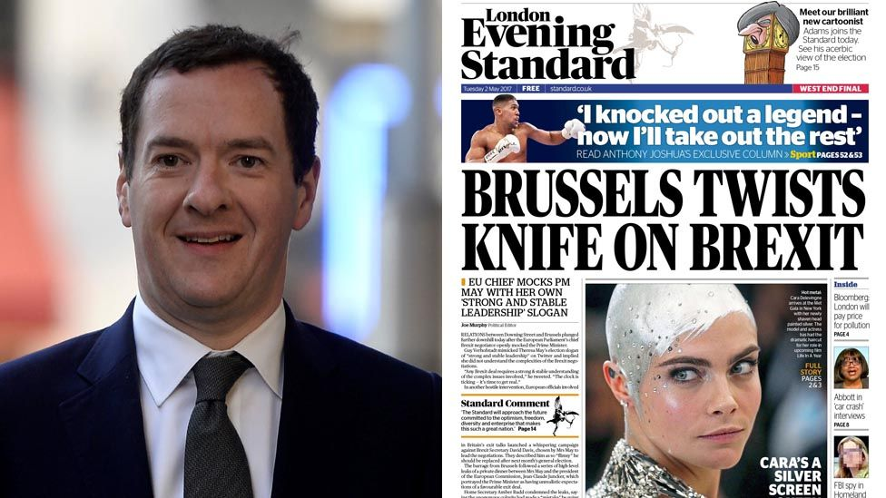 George Osborne, Evening Standard front page