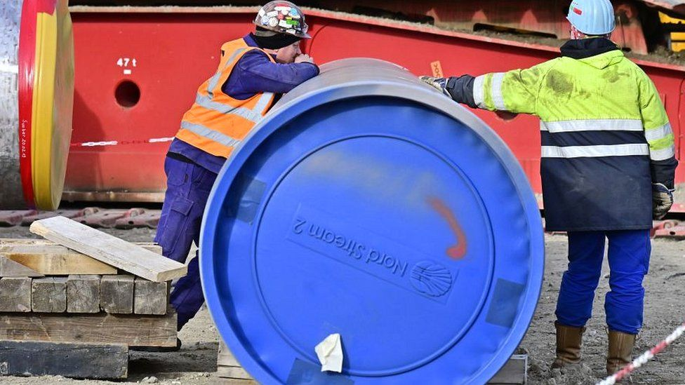 Construction workers at Nord Stream 2 site in Lubmin, Germany