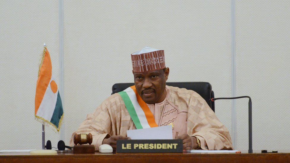 Hama Amadou delivering a speech at the Parliament House in Niamey, Niger