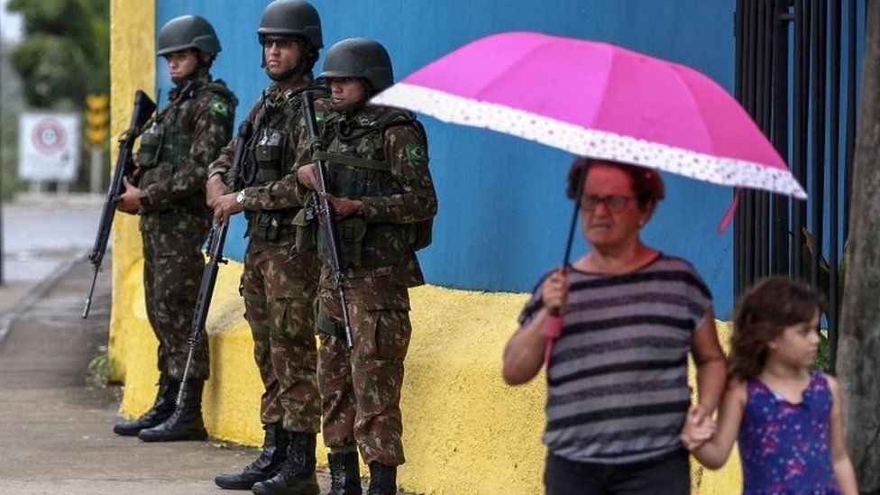 Brazilian soldiers patrol the streets of Fortaleza. Photo: 20 February 2020