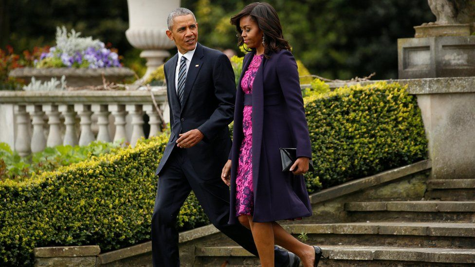 The president and his wife at Winfield House in London