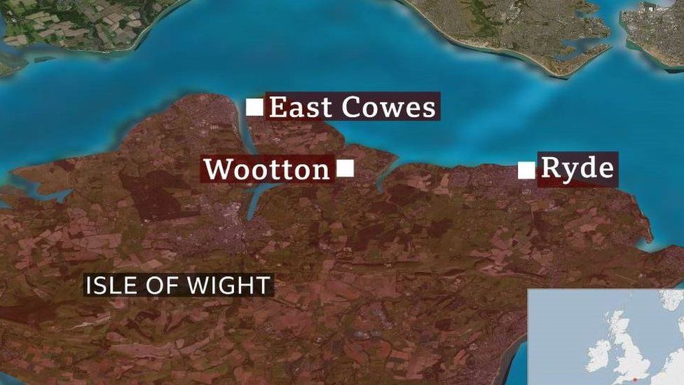 Map showing Isle of Wight