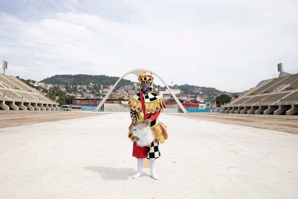 Darllan Nascimento in an empty Sambadrome