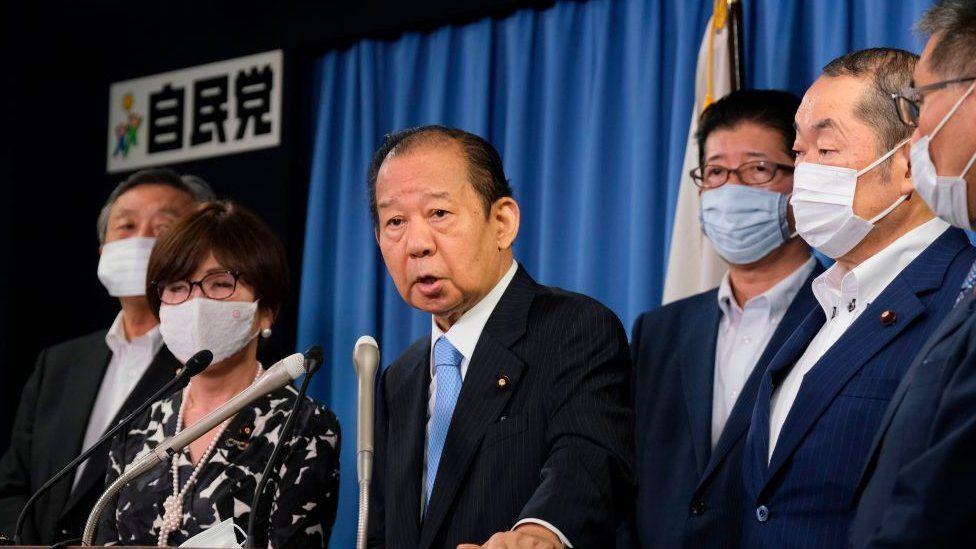 LDP Secretary General Toshihiro Nikai speaks to the media on 1 September 2020