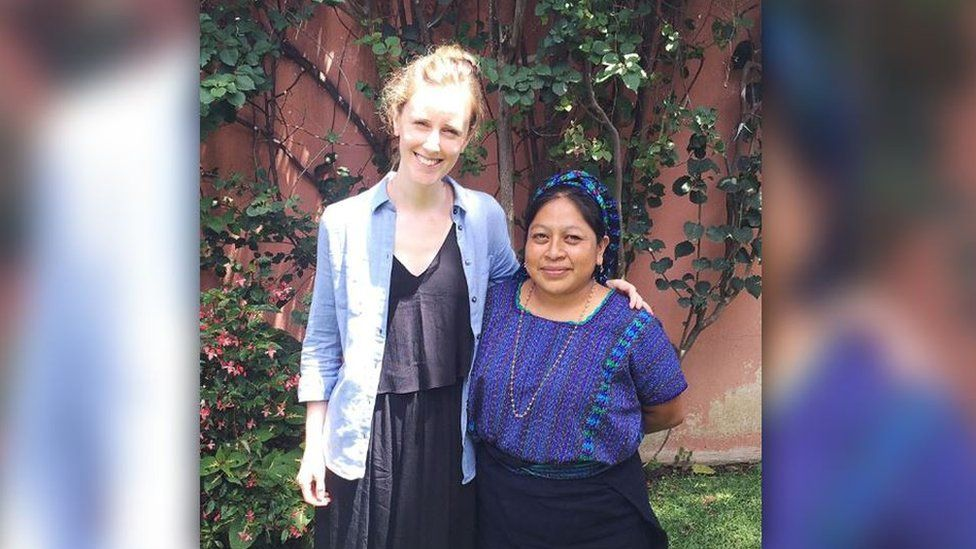 Heidi Griffiths, founder of Maykher, with one of her artisan makers in Guatemala