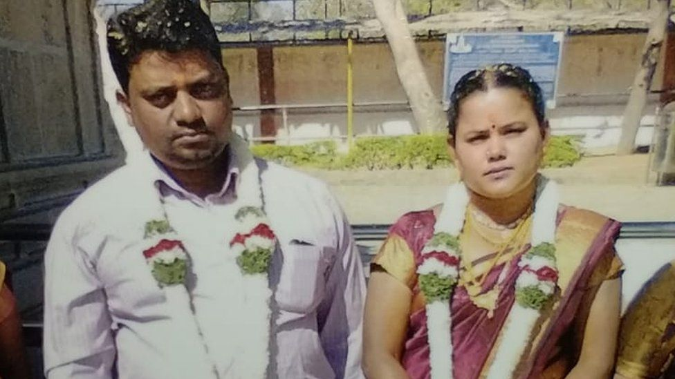 Rajesh Jayaseelan with his wife Mary on their wedding day in 2014