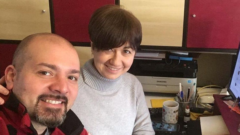 Daniela and her husband at home in San Fiorano in Italy's red zone