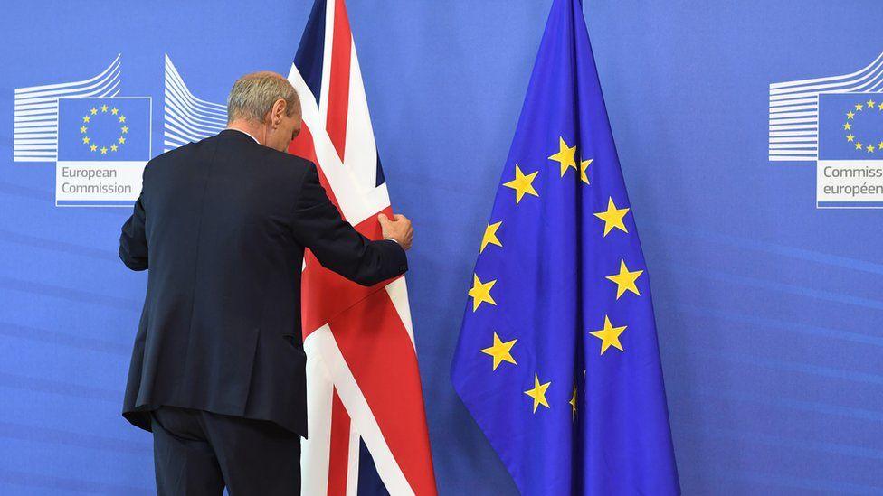 UK and EU flags at European Commission, 28 Jun 16