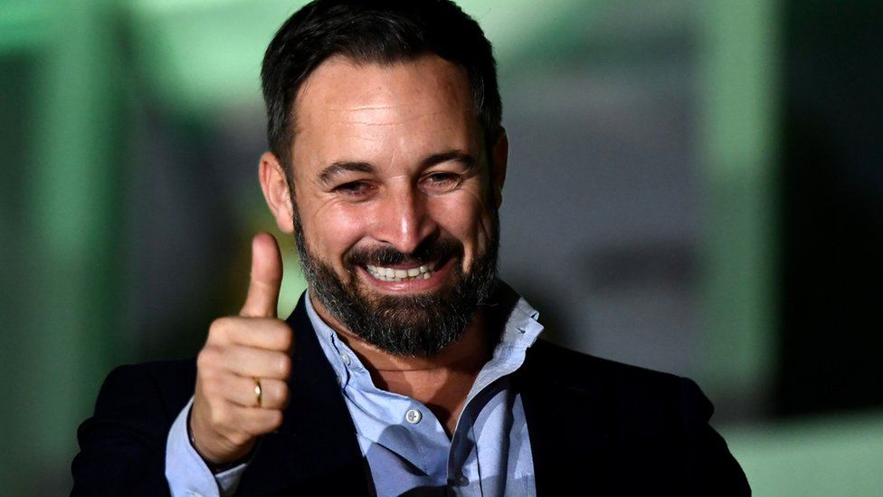 Santiago Abascal, leader of Spain's far-right Vox party, celebrates his party's election result in Madrid, 10 November 2019