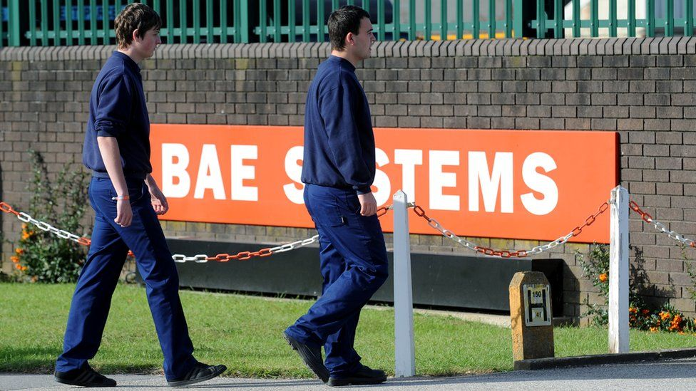 Workers outside a BAE systems plant in Hull