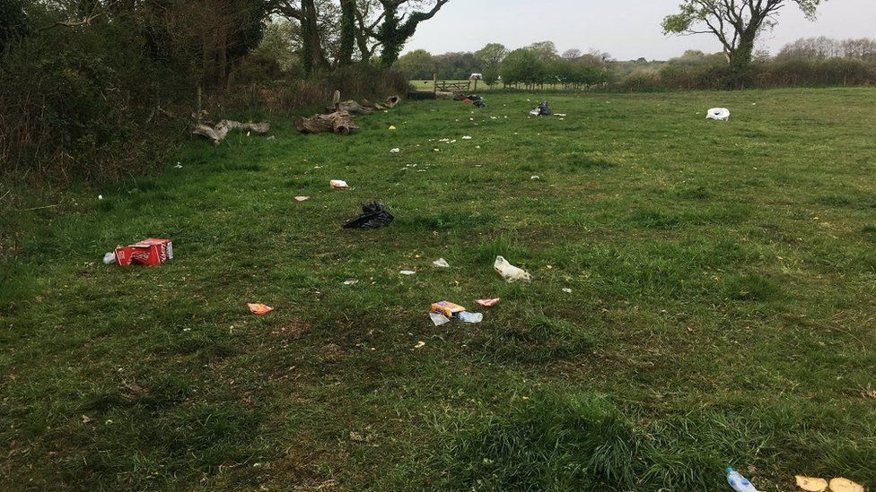 Rubbish left at Wytch rave site Wytch in Corfe Castle, near Wareham