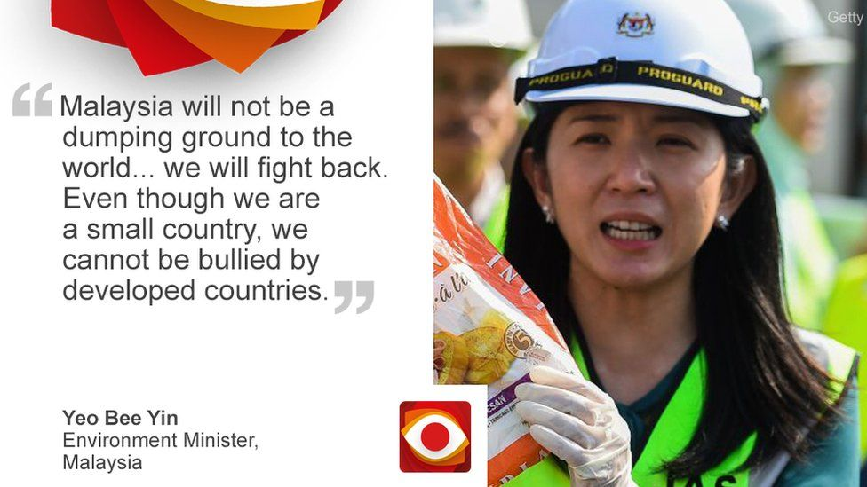 Quote card of Malaysian environment minister on dumping of foreign waste
