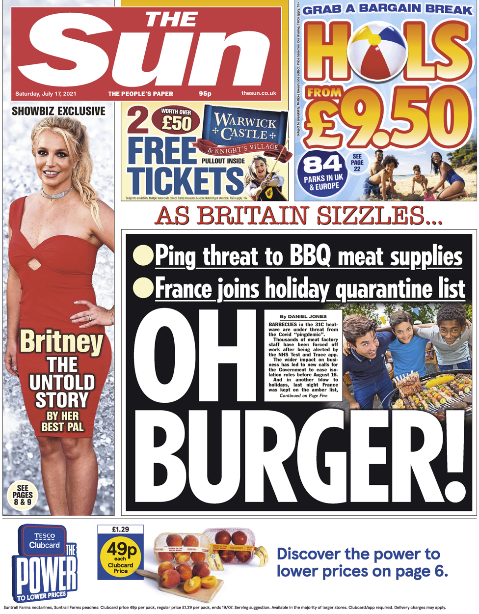 The Sun front page 17 July 2021