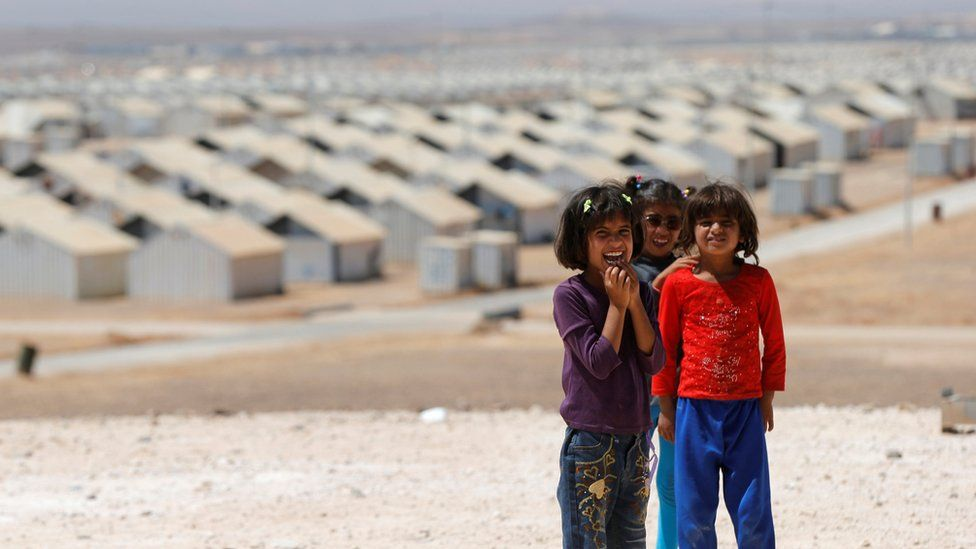 Syrian refugees at the Azraq camp in Jordan