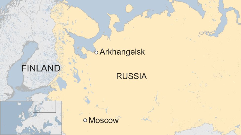 Map of Russia and Arkhangelsk