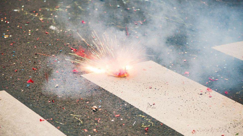 firecracker on the street