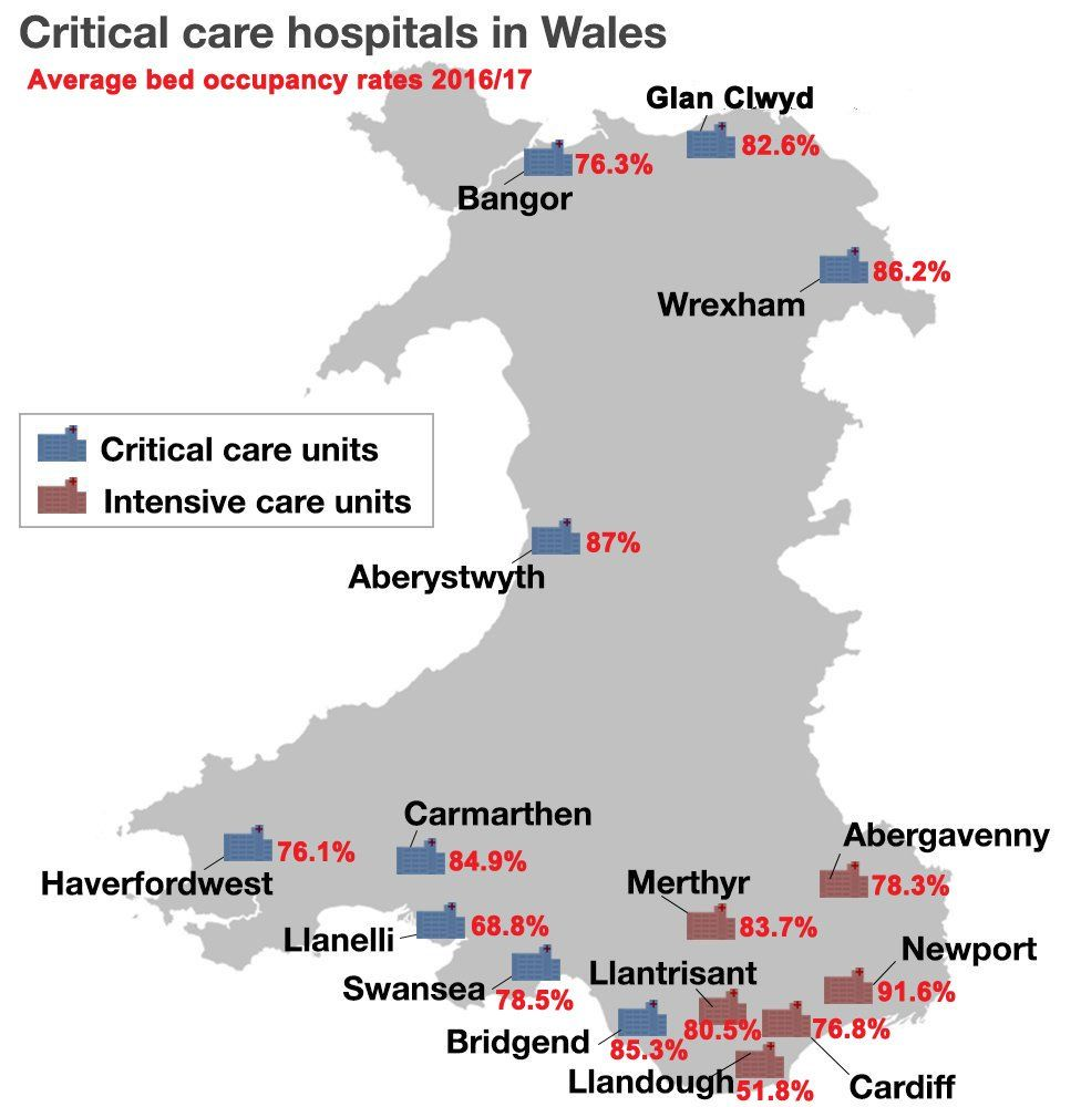 Map of bed occupancy rates