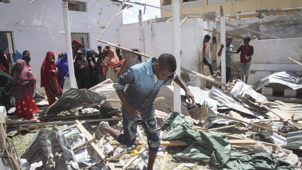 The scene of an explosion that hit Somalia's capital Mogadishu