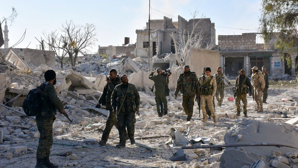 Pro-government forces in Hanano district in eastern Aleppo on 27 November 2016