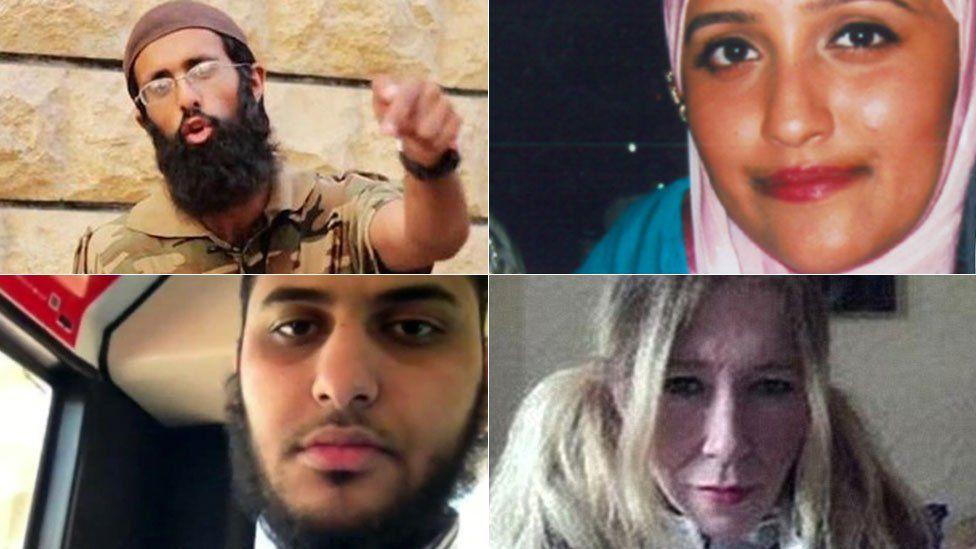 Clockwise from top left: Omar Hussain, Aqsa Mahmood, Sally-Anne Jones and Nasser Muthana