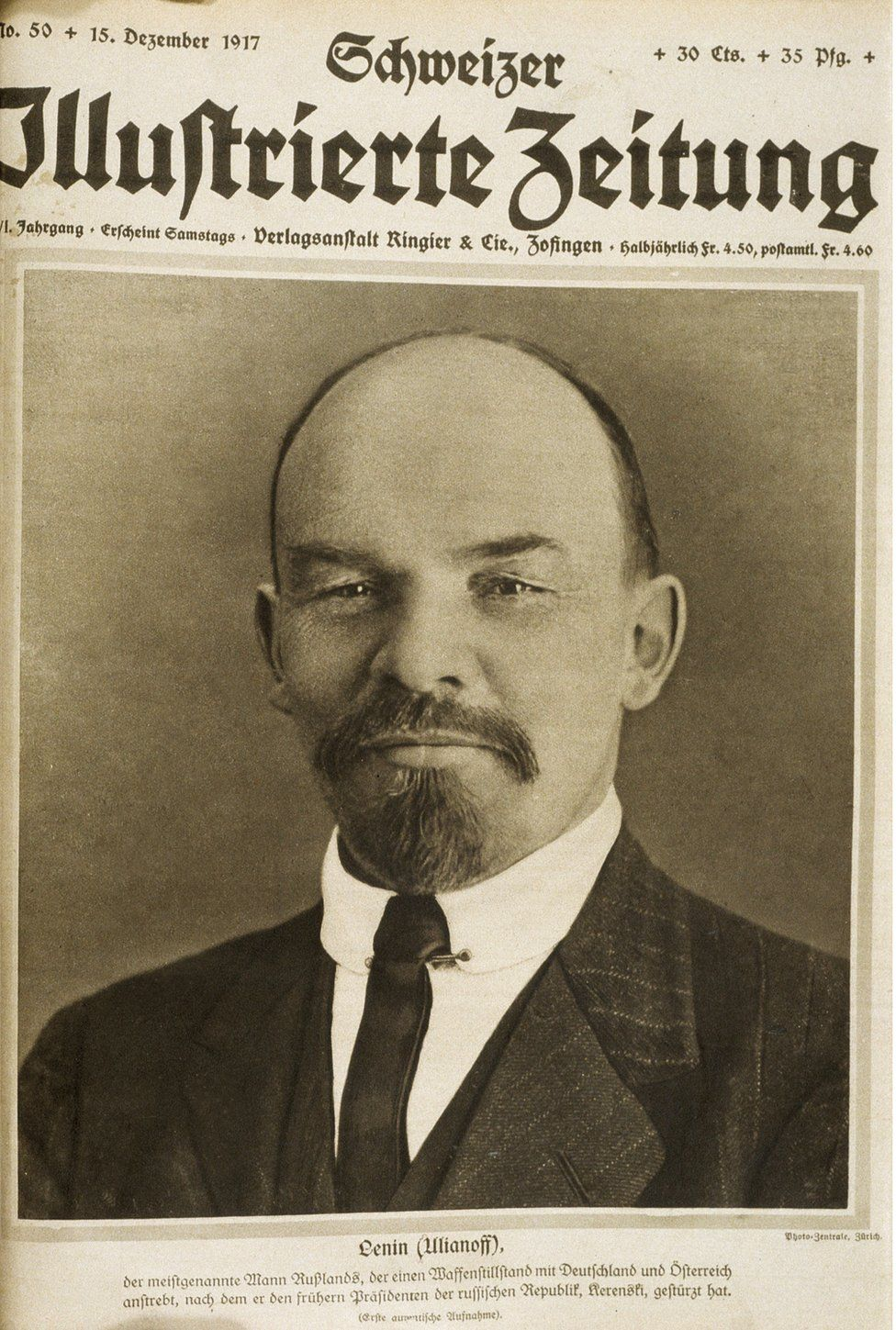 Picture of Lenin on the front page of the Schweizer Illustrierte of 15 December 1917.