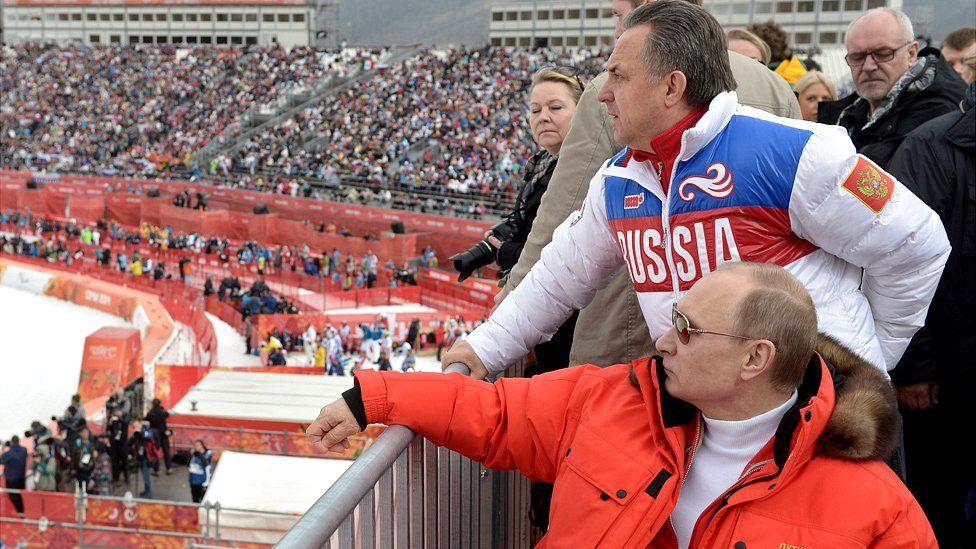 President Putin watching skiing event at Sochi 2014 Paralympics, 9 Mar 14