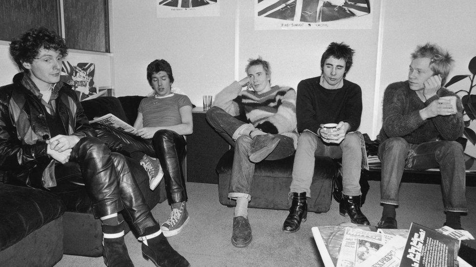 Sex Pistols: From left to right, manager Malcolm McLaren, Steve Jones, Johnny Rotten (John Lydon), Glen Matlock and Paul Cook
