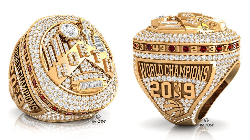 Close ups of the record-breaking Toronto Raptors championship rings