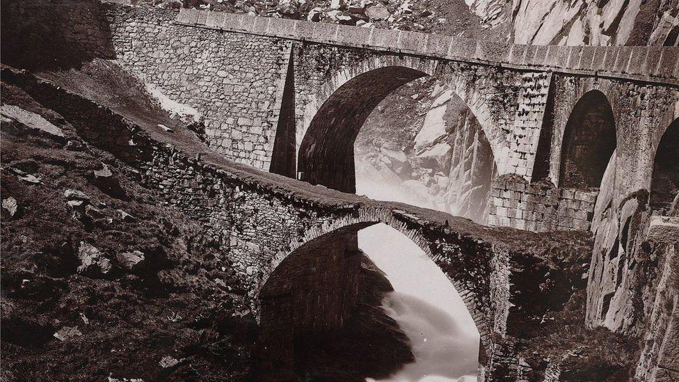 The devil's bridge leading up to the Gotthard pass in 1892 pic courtesy SBB Historic/alptransit-portal.ch