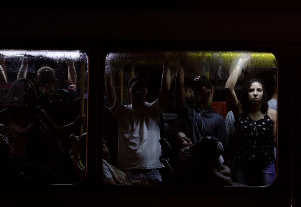 People on a bus in Rio de Janeiro