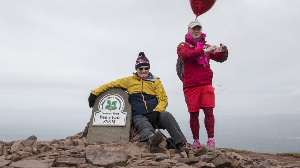Des Lally at the summit of Pen y Fan with his dad