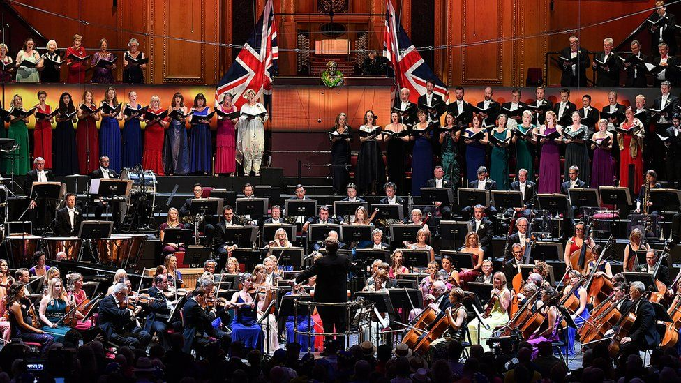 The BBC Symphony Orchestra, BBC Symphony Chorus, and BBC Singers take to the Royal Albert Hall on stage during the Last Night of the Proms in 2018