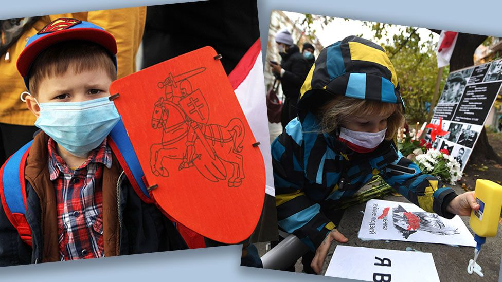 Children at protests supporting the Belarusian opposition, in Kyiv, Ukraine (L) and Minsk, Belarus (R) in November 2020