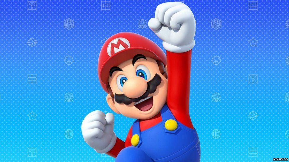 Mario fist pumping the air