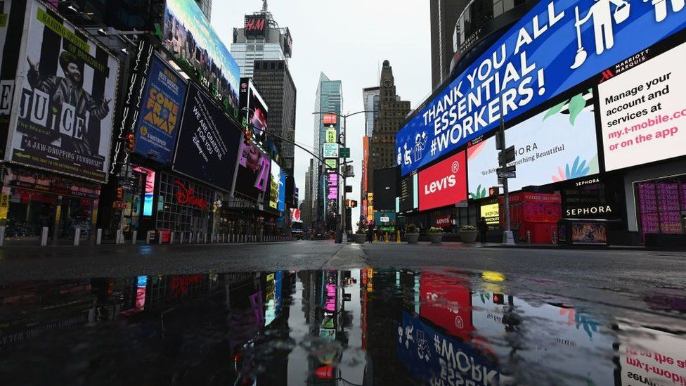 A view of a nearly empty Time Square on April 09, 2020 in New York City
